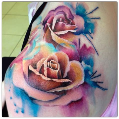 coloured rose tattoos abstract colored tattoos
