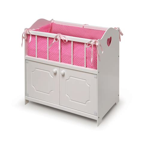 Doll Cribs And Beds Badger Basket White Storage Doll Crib With Bedding By Oj Commerce 19000a 34 09