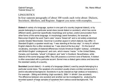 Essays On Idiolect And Sociolect by Essay On Personal Idiolect Exles Essay For You