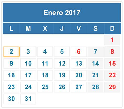 Calendario De Enero 2017 Con Festivos Calendario Fiscal Enero 2017 Auditoriablog Auditoria