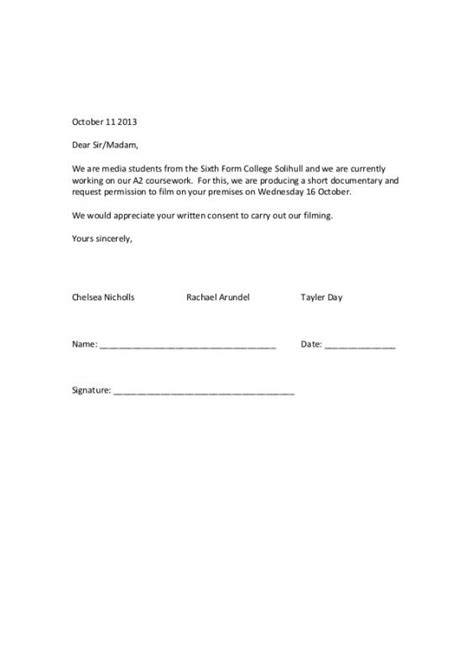 Letter Of Consent To Carry Out Research parental consent form template business