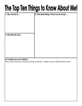Things I About Me by The Top 10 Things To About Me Student Worksheet By