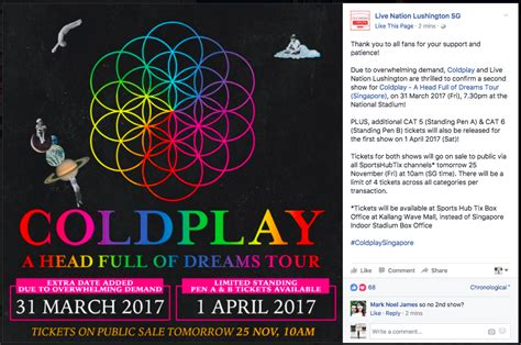 coldplay singapore coldplay 2017