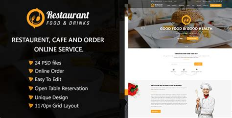 themeforest free psd download themeforest restaurant food drinks psd template nulled