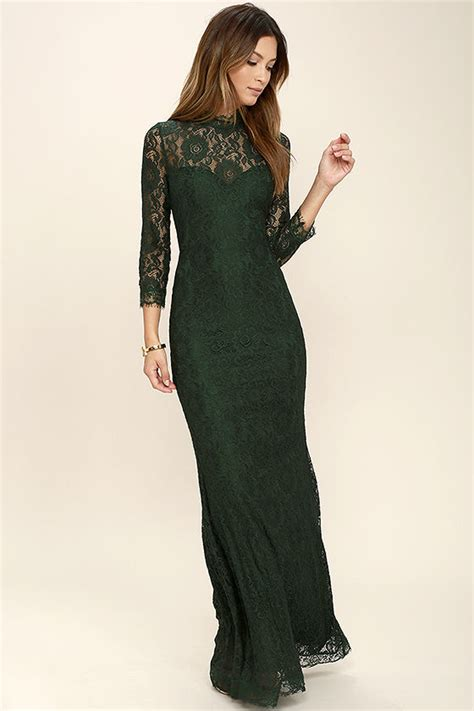 1940s Style Prom Dresses Formal Dresses Evening Gowns Black Lace Sleeved Maxi Dress
