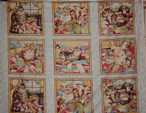 Cat Quilt Fabric by Cotton Fabric Six Cats Quilting Purr Fection Cat By Yacketusa