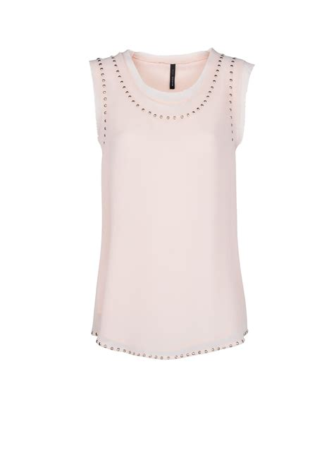 pink beaded top mango beaded chiffon top in pink lyst