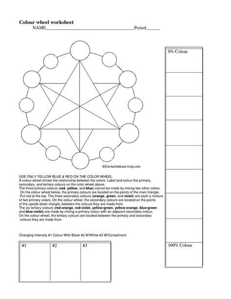 Color Wheel Worksheet by Color Wheel Worksheet Basic
