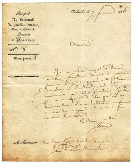 Offizieller Brief Anfrage Diekirch 7 Februar 1836 Milit 228 R Bestrafung Luxembourg Luxemburg Dokumente