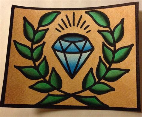 old school tattoo watercolor 4x5in blue diamond old school style tattoo flash