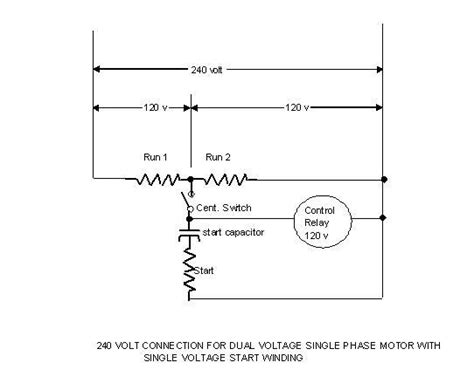 wiring diagram 230v single phase motor with start and run