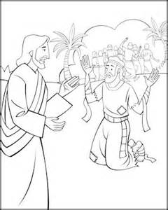 sunday coloring page jesus and the ten lepers
