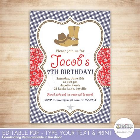 Cowboy Birthday Party Invitation Template Red Blue Paisley Boy Birthday Editable Instant Cowboy Invitations Template Free