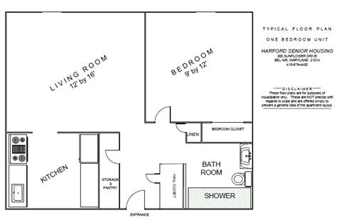 senior housing floor plans one bedroom apartment layout