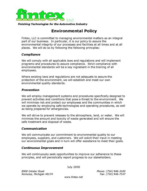 environmental statement template environmental policy statement jpg images frompo