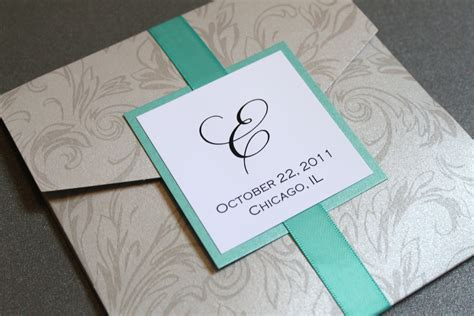 silver damask pocket wedding invitation square by
