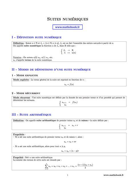 in suite definition suites num 233 riques fiches de r 233 vision maths premi 232 re s