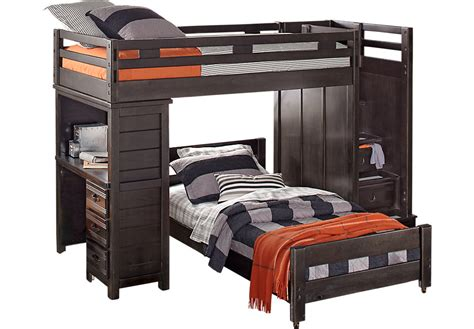 bunk beds with desk creekside charcoal step bunk bed with desk
