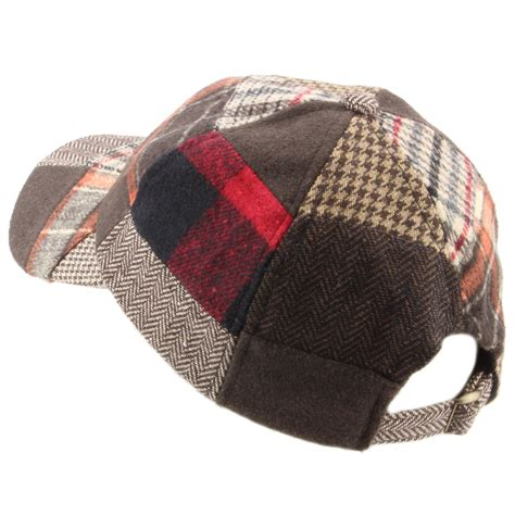Tweed Patchwork - baseball cap hat hawkins tweed patchwork wool one size