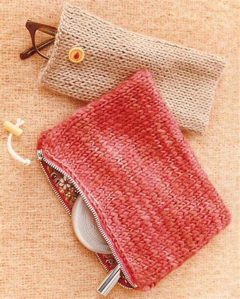 knitted zippered pouch pattern knit pouches martha stewart