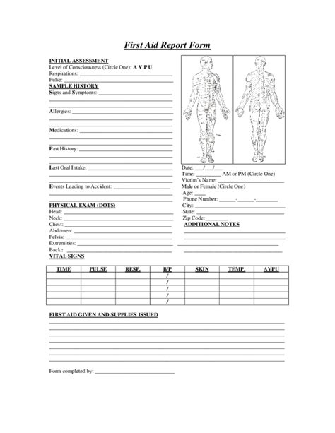 first aid report sample form free download