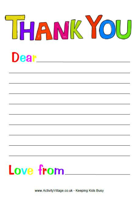 free thank you letter template free printable thank you note paper for children search