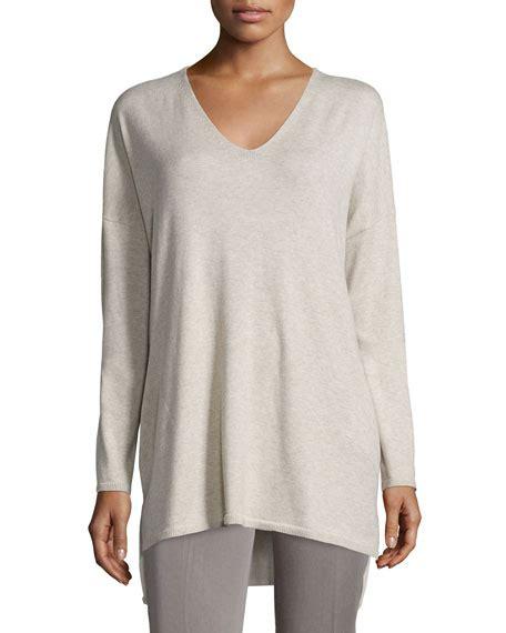 Pocket Tunik V eileen fisher v neck organic cotton tunic with pockets plus size