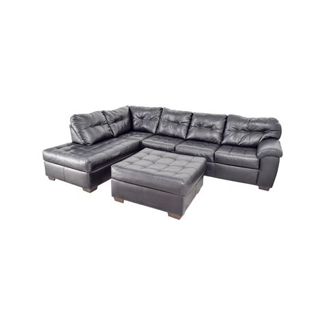 black sectional with ottoman 81 black leather tufted sectional sofa and ottoman