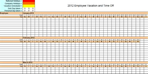 2016 free employee vacation calendar calendar template 2016