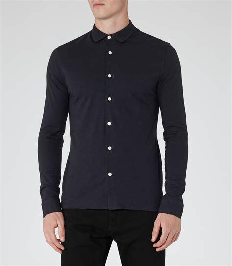 contrast button shirt chance navy contrast button shirt reiss