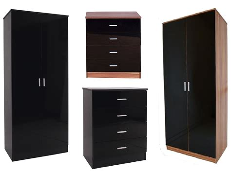 caspian black high gloss bedroom furniture set wardrobe
