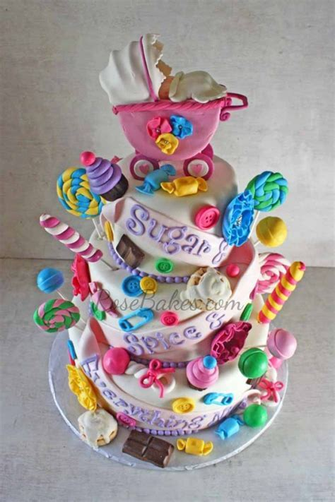 Sugar and Spice and Everything Nice Baby Shower Cake for Twin Girls   Rose Bakes