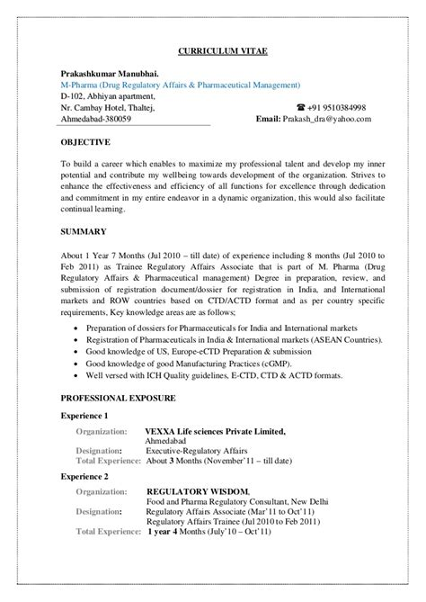 pharmaceutical regulatory affairs resume sle prakash cv