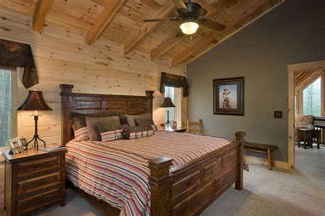 Pine Interior Walls by 2nd Floor Carpeted Master Bedroom With Douglas Fir Timbers