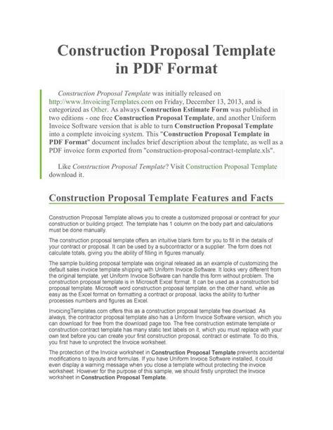 construction proposal template download free premium