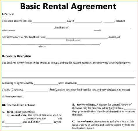 basic residential lease agreement basic rental agreement 1