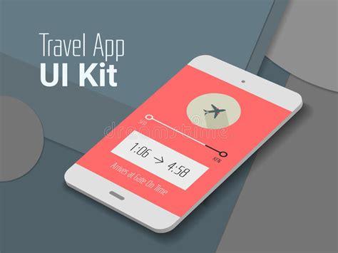 material design app mockup travel mobile app ui smartphone mockup stock vector