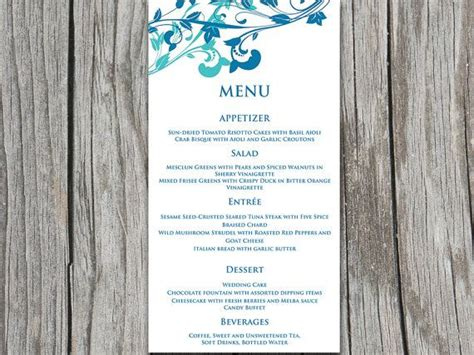 Microsoft Templates Menu Cards by Whimsical Vines Wedding Menu Card Microsoft Word Template