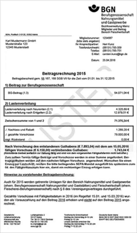 Muster Mahnung Beitragszahlung Bgn Bereich Fleischwirtschaft Erl 228 Uterungen Beitragsbescheide