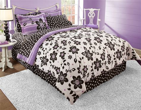 black white purple bedroom black white and purple bedding floral and polka dot bedding home interior design ideashome