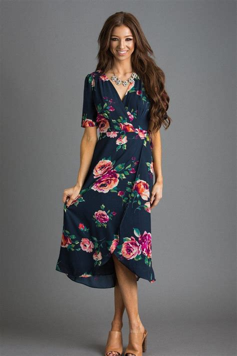Lea Navy Midi Dress Casual Hi Low Dress annelise navy floral wrap dress morning lavender
