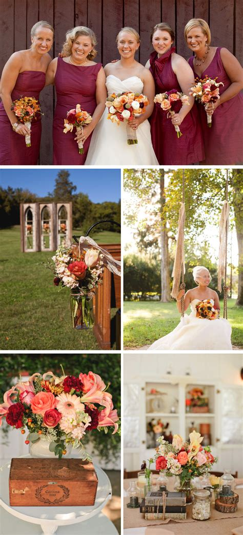 outdoor country western themed wedding colorful wedding flowers centerpieces maroon bridesmaids