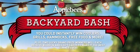 Win 5000 Instantly - win 5 000 in american express gift cards on applebee s rmh backyard bash instant