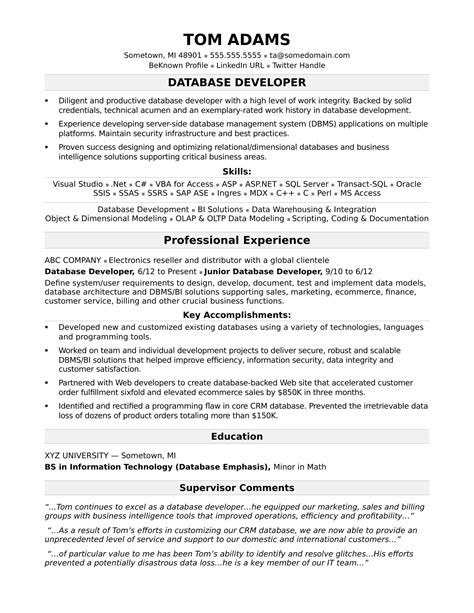 resume format for developer sle resume for a midlevel it developer