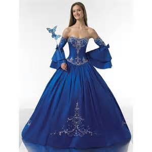 ball gown strapless ruched embroidery satin long royal