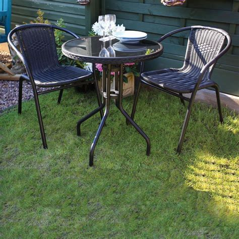 Black Bistro Set Garden Furniture Patio Outdoor Summer Patio Bistro Table Set