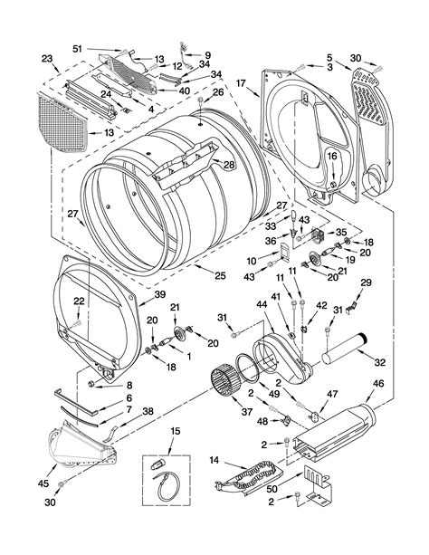 whirlpool dryer parts diagram bulkhead parts diagram parts list for model wed5500xw0