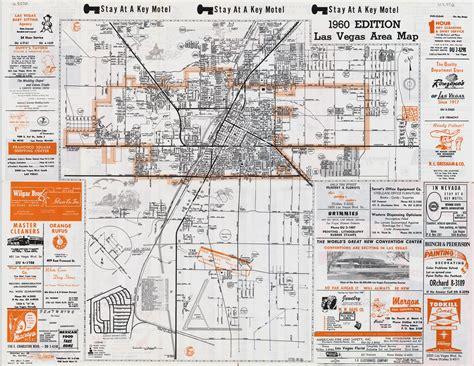 las vegas on the map of usa large detailed vintage las vegas city area map 1960