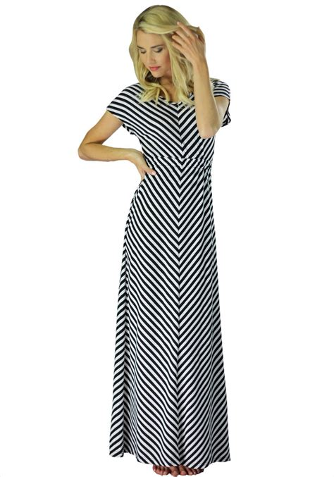Modest Maxi Dresses by Modest Maxi Dress With Sleeves In Black And White
