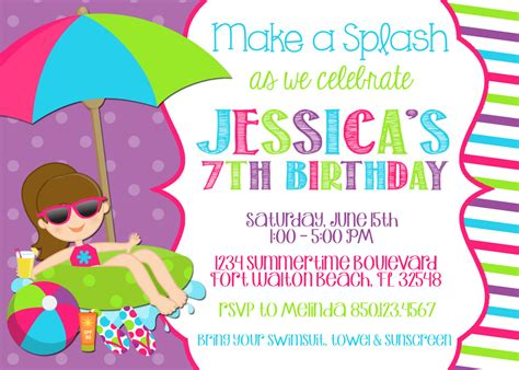 pool party invitation wording template best template